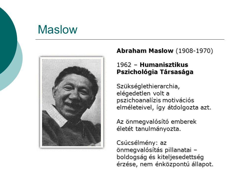 Maslow Abraham Maslow (1908-1970) 1962 – Humanisztikus Pszichológia Társasága Szükséglethierarchia, elégedetlen volt a pszichoanalízis motivációs elmé