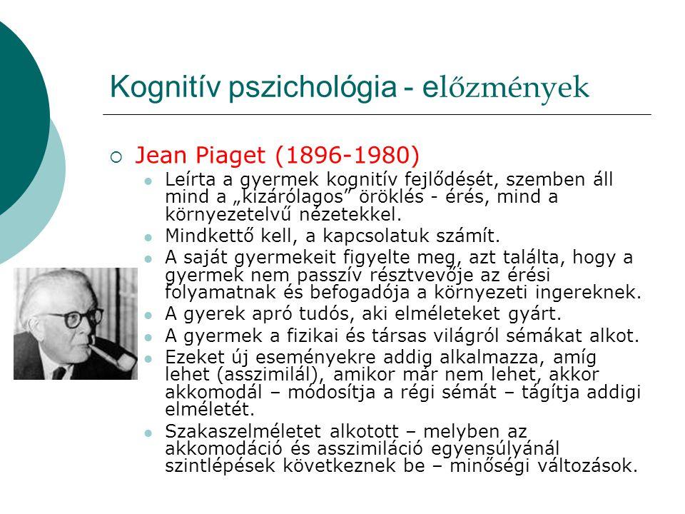 """Kognitív pszichológia - e lőzmények  Jean Piaget (1896-1980)  Leírta a gyermek kognitív fejlődését, szemben áll mind a """"kizárólagos"""" öröklés - érés,"""