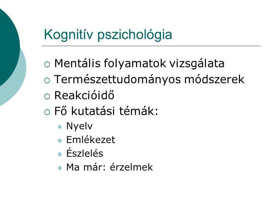 Kognitív pszichológia  Mentális folyamatok vizsgálata  Természettudományos módszerek  Reakcióidő  Fő kutatási témák:  Nyelv  Emlékezet  Észlelé