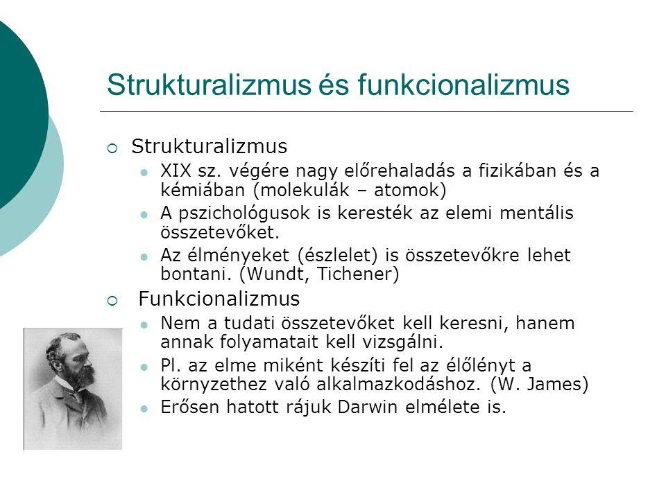 Strukturalizmus és funkcionalizmus  Strukturalizmus  XIX sz. végére nagy előrehaladás a fizikában és a kémiában (molekulák – atomok)  A pszichológu