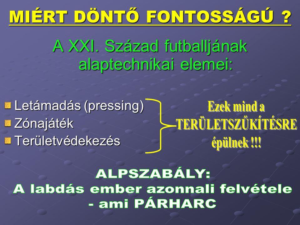MIÉRT DÖNTŐ FONTOSSÁGÚ ? A XXI. Század futballjának alaptechnikai elemei: Letámadás (pressing) ZónajátékTerületvédekezés