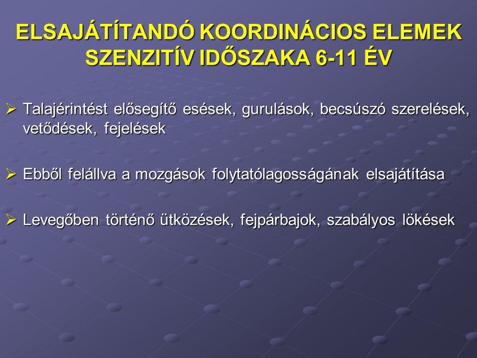 ELSAJÁTÍTANDÓ KOORDINÁCIOS ELEMEK SZENZITÍV IDŐSZAKA 6-11 ÉV  Talajérintést elősegítő esések, gurulások, becsúszó szerelések, vetődések, fejelések 