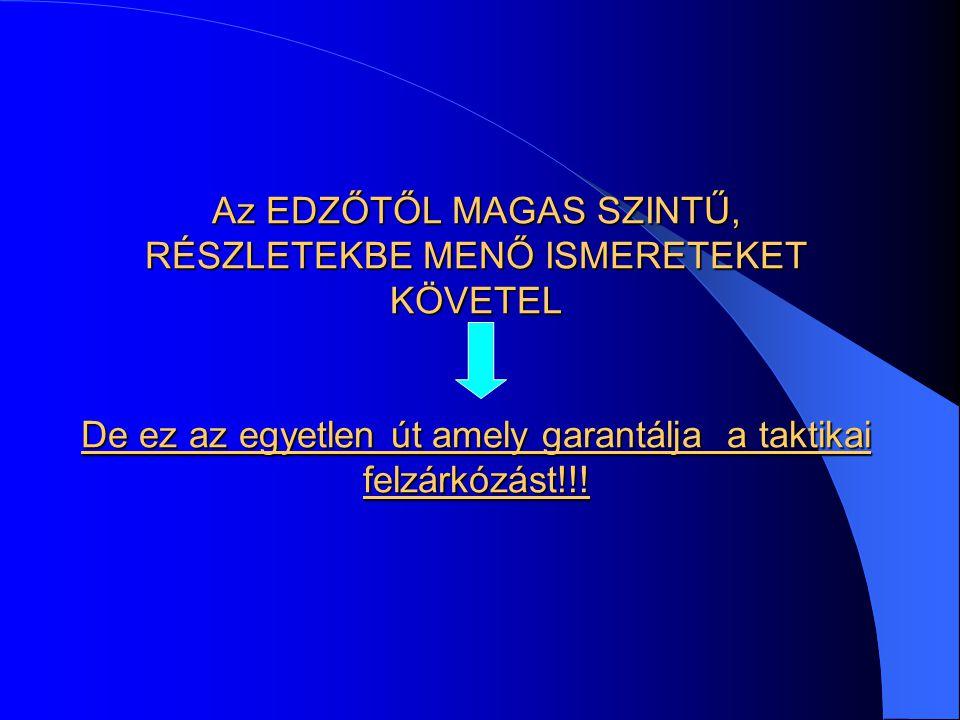 Az EDZŐTŐL MAGAS SZINTŰ, RÉSZLETEKBE MENŐ ISMERETEKET KÖVETEL De ez az egyetlen út amely garantálja a taktikai felzárkózást!!!