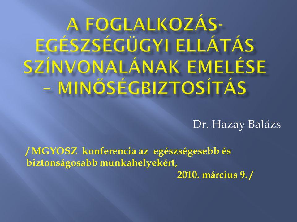 Dr.Hazay Balázs / MGYOSZ konferencia az egészségesebb és biztonságosabb munkahelyekért, 2010.