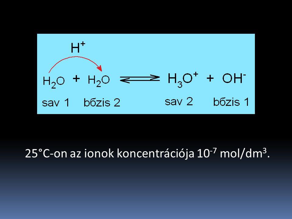 25°C-on az ionok koncentrációja 10 -7 mol/dm 3.