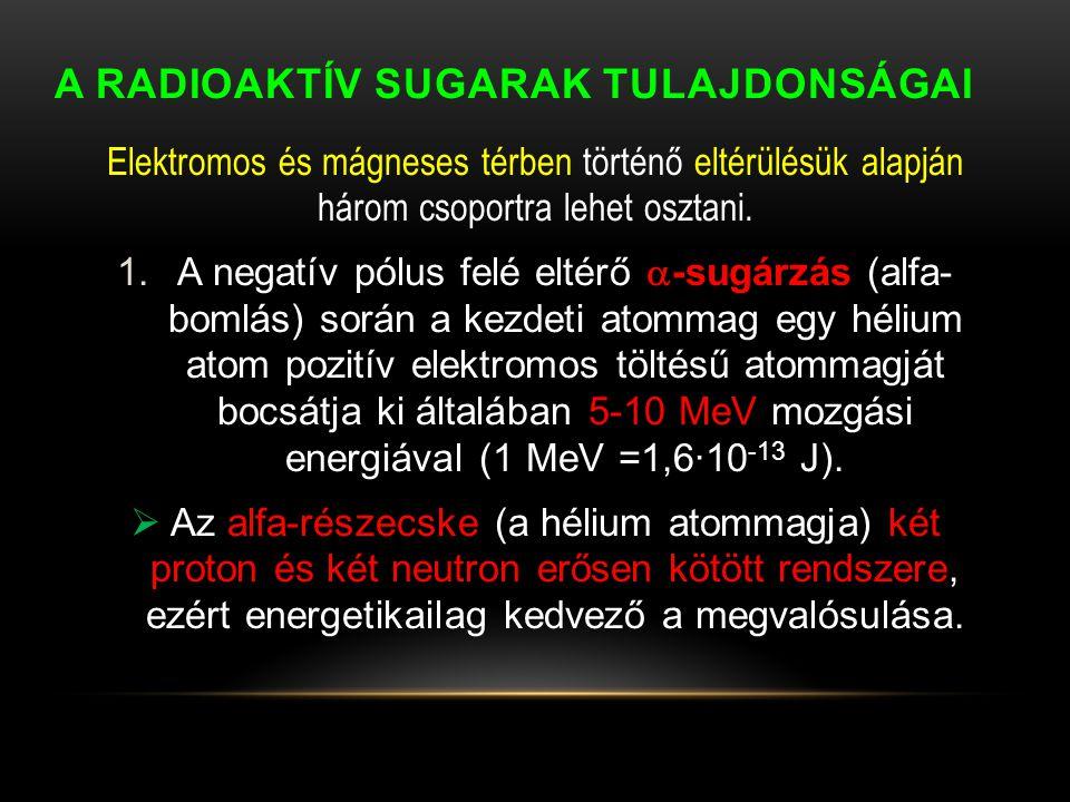 A RADIOAKTÍV SUGARAK TULAJDONSÁGAI Elektromos és mágneses térben történő eltérülésük alapján három csoportra lehet osztani. 1.A negatív pólus felé elt
