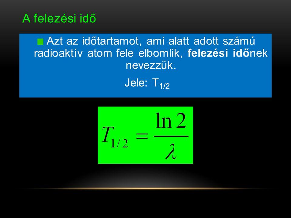 A felezési idő Azt az időtartamot, ami alatt adott számú radioaktív atom fele elbomlik, felezési időnek nevezzük. Jele: T 1/2
