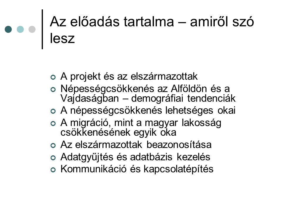 Az előadás tartalma – amiről szó lesz A projekt és az elszármazottak Népességcsökkenés az Alföldön és a Vajdaságban – demográfiai tendenciák A népességcsökkenés lehetséges okai A migráció, mint a magyar lakosság csökkenésének egyik oka Az elszármazottak beazonosítása Adatgyűjtés és adatbázis kezelés Kommunikáció és kapcsolatépítés