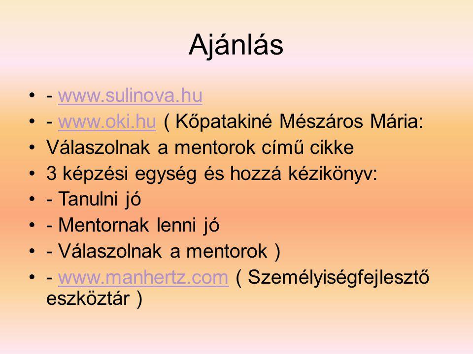 Ajánlás •- www.sulinova.huwww.sulinova.hu •- www.oki.hu ( Kőpatakiné Mészáros Mária:www.oki.hu •Válaszolnak a mentorok című cikke •3 képzési egység és hozzá kézikönyv: •- Tanulni jó •- Mentornak lenni jó •- Válaszolnak a mentorok ) •- www.manhertz.com ( Személyiségfejlesztő eszköztár )www.manhertz.com