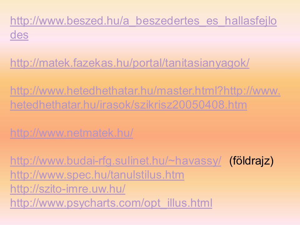 http://www.beszed.hu/a_beszedertes_es_hallasfejlo des http://matek.fazekas.hu/portal/tanitasianyagok/ http://www.hetedhethatar.hu/master.html?http://www.