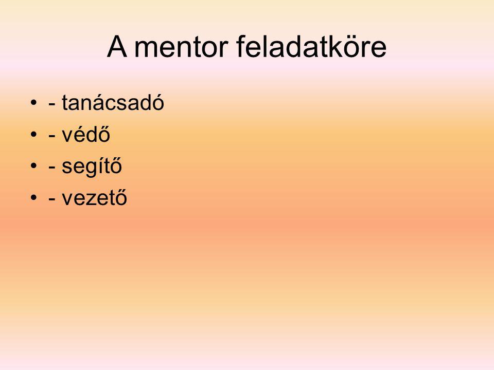 A mentor feladatköre •- tanácsadó •- védő •- segítő •- vezető
