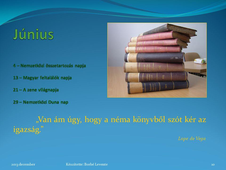 """""""Van ám úgy, hogy a néma könyvből szót kér az igazság."""" Lope de Vega 2013 december10Készítette: Borbé Levente"""