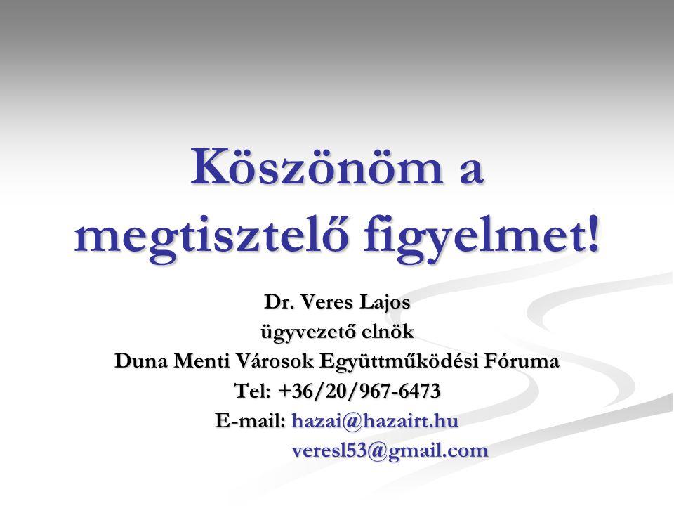 Köszönöm a megtisztelő figyelmet! Dr. Veres Lajos ügyvezető elnök Duna Menti Városok Együttműködési Fóruma Tel: +36/20/967-6473 E-mail: hazai@hazairt.