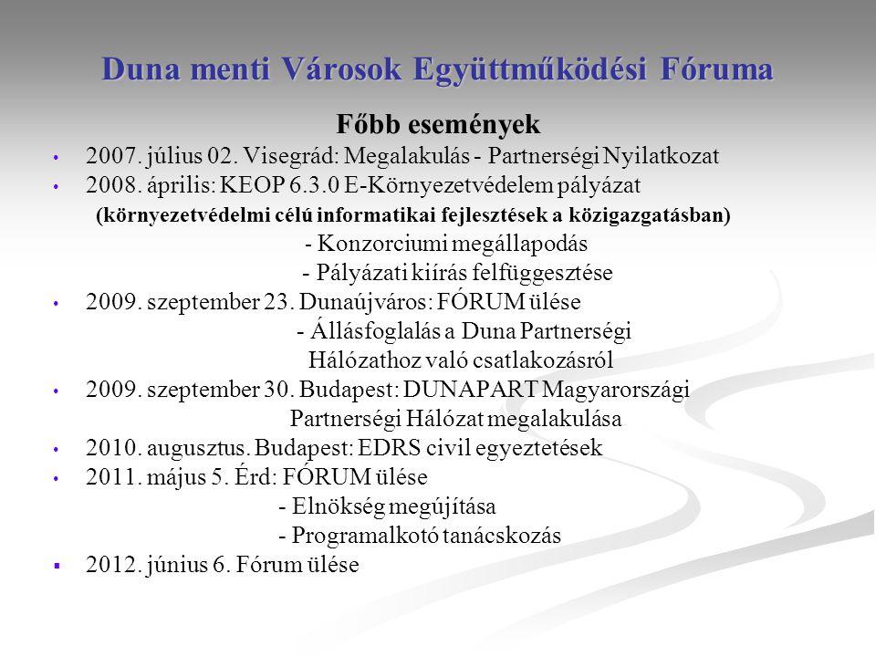 Duna menti Városok Együttműködési Fóruma Főbb események • • 2007. július 02. Visegrád: Megalakulás - Partnerségi Nyilatkozat • • 2008. április: KEOP 6
