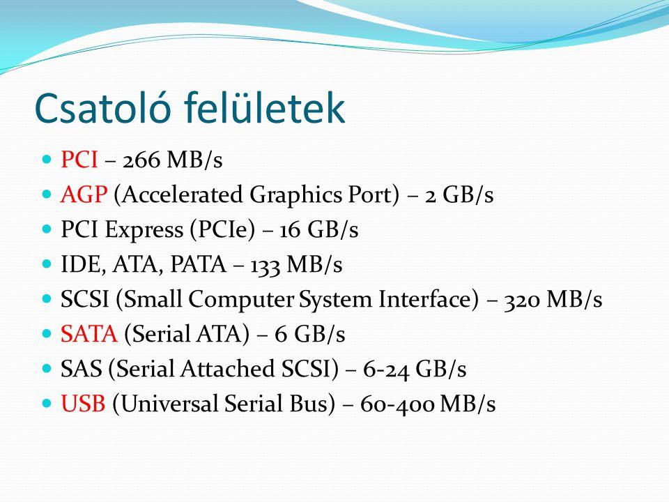 Csatoló felületek  PCI – 266 MB/s  AGP (Accelerated Graphics Port) – 2 GB/s  PCI Express (PCIe) – 16 GB/s  IDE, ATA, PATA – 133 MB/s  SCSI (Small