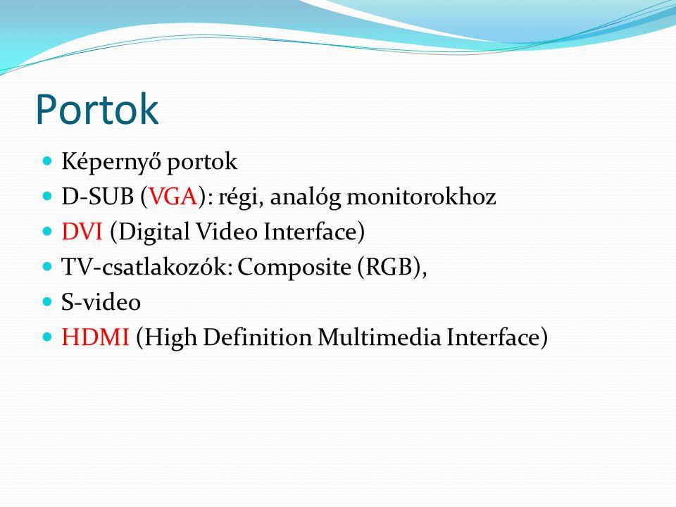 Portok  Képernyő portok  D-SUB (VGA): régi, analóg monitorokhoz  DVI (Digital Video Interface)  TV-csatlakozók: Composite (RGB),  S-video  HDMI
