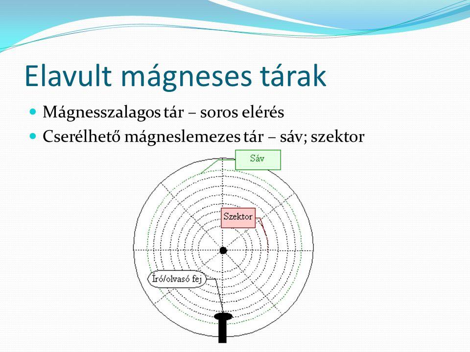 Elavult mágneses tárak  Mágnesszalagos tár – soros elérés  Cserélhető mágneslemezes tár – sáv; szektor