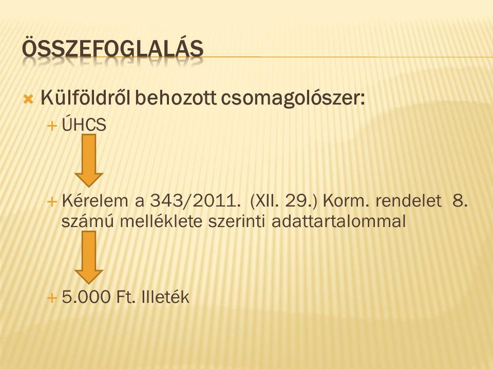  Külföldről behozott csomagolószer:  ÚHCS  Kérelem a 343/2011. (XII. 29.) Korm. rendelet 8. számú melléklete szerinti adattartalommal  5.000 Ft. I