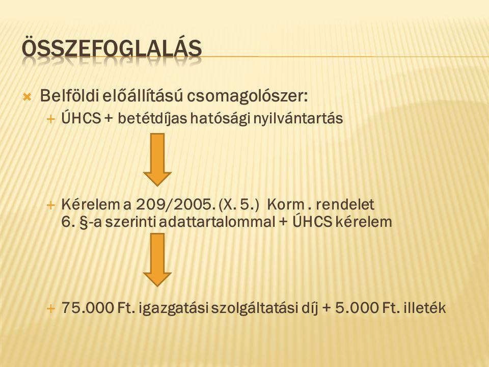  Belföldi előállítású csomagolószer:  ÚHCS + betétdíjas hatósági nyilvántartás  Kérelem a 209/2005. (X. 5.) Korm. rendelet 6. §-a szerinti adattart