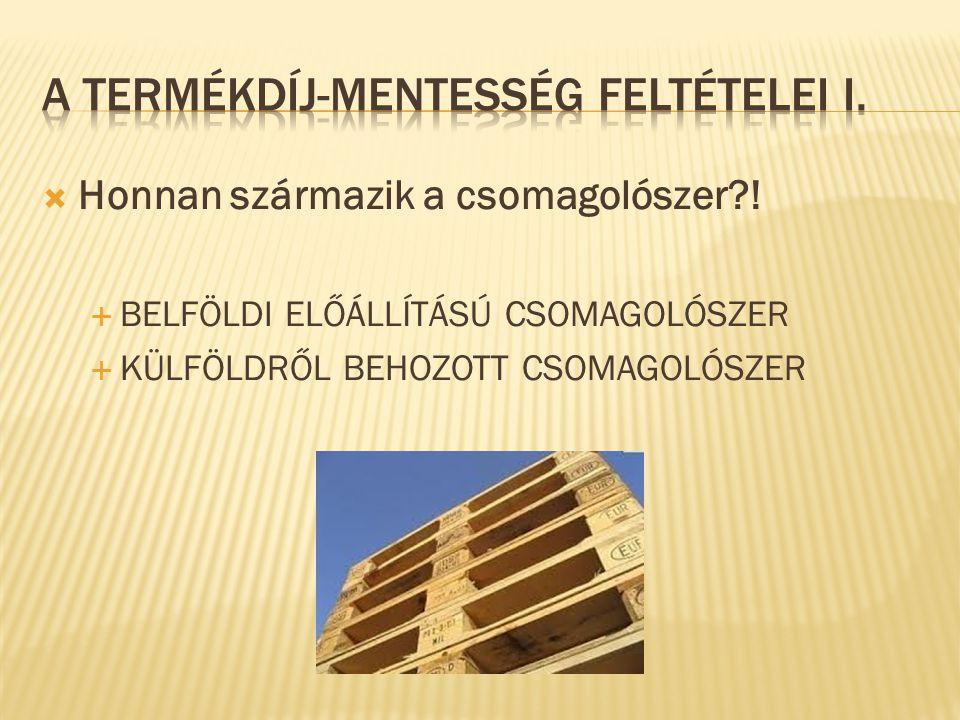  BELFÖLDI ELŐÁLLÍTÁSÚ CSOMAGOLÓSZER ESETÉN:  A környezetvédelmi termékdíjról szóló 2011.