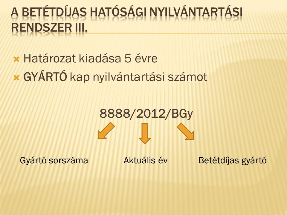  Belföldi előállítású csomagolószer:  ÚHCS + betétdíjas hatósági nyilvántartás  Kérelem a 209/2005.