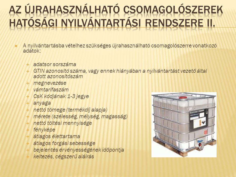  Határozat  GYÁRTÓ és a CSOMAGOLÓSZER is kap nyilvántartási számot 8888/222/2012/ÚhCs CsomagolószerGyártóAktuális évÚjrahasználható