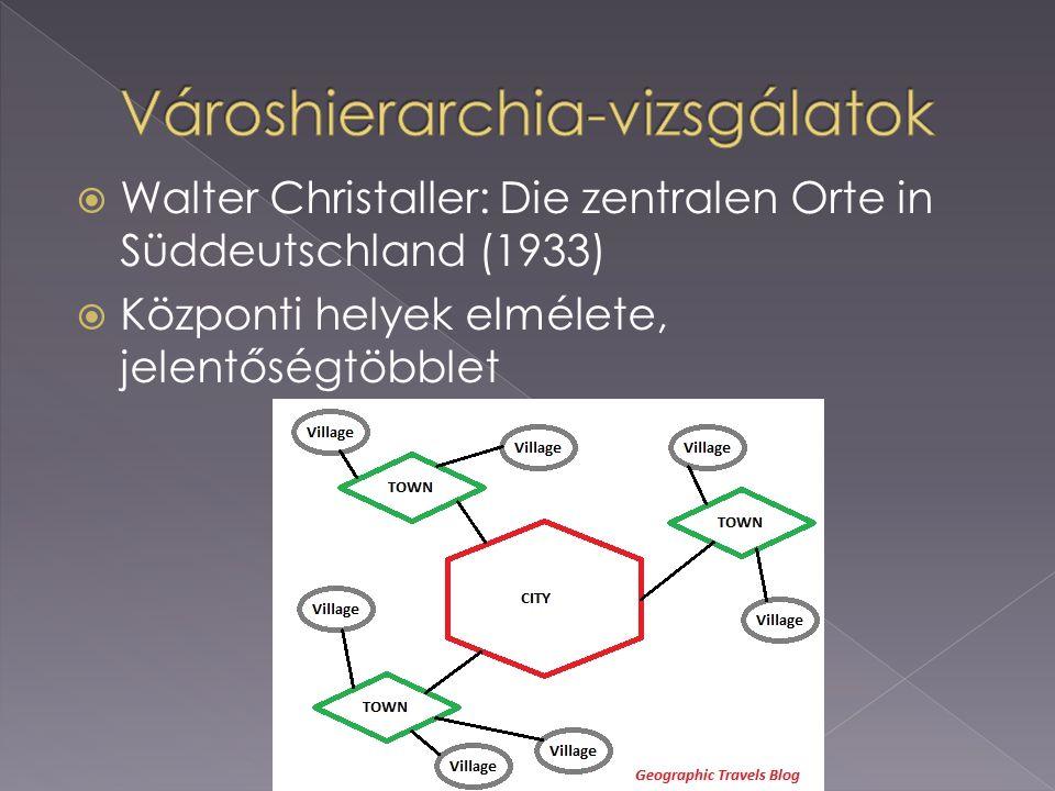  Walter Christaller: Die zentralen Orte in Süddeutschland (1933)  Központi helyek elmélete, jelentőségtöbblet