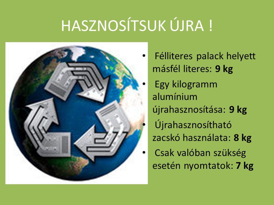 HASZNOSÍTSUK ÚJRA ! • Félliteres palack helyett másfél literes: 9 kg • Egy kilogramm alumínium újrahasznosítása: 9 kg • Újrahasznosítható zacskó haszn