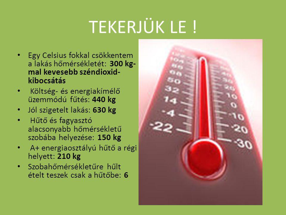 TEKERJÜK LE ! • Egy Celsius fokkal csökkentem a lakás hőmérsékletét: 300 kg- mal kevesebb széndioxid- kibocsátás • Költség- és energiakímélő üzemmódú
