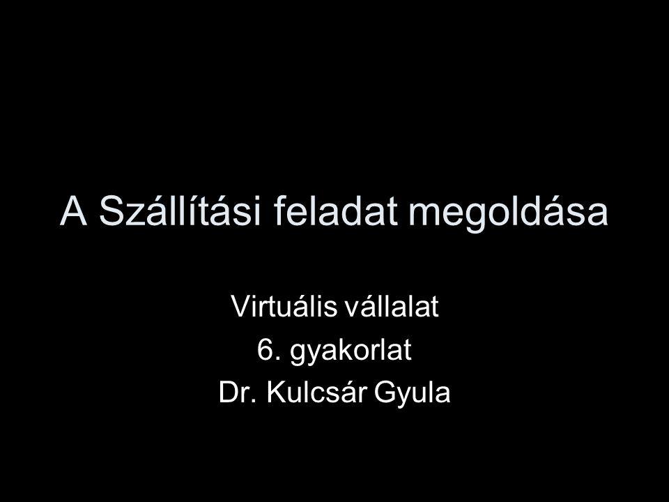 A Szállítási feladat megoldása Virtuális vállalat 6. gyakorlat Dr. Kulcsár Gyula