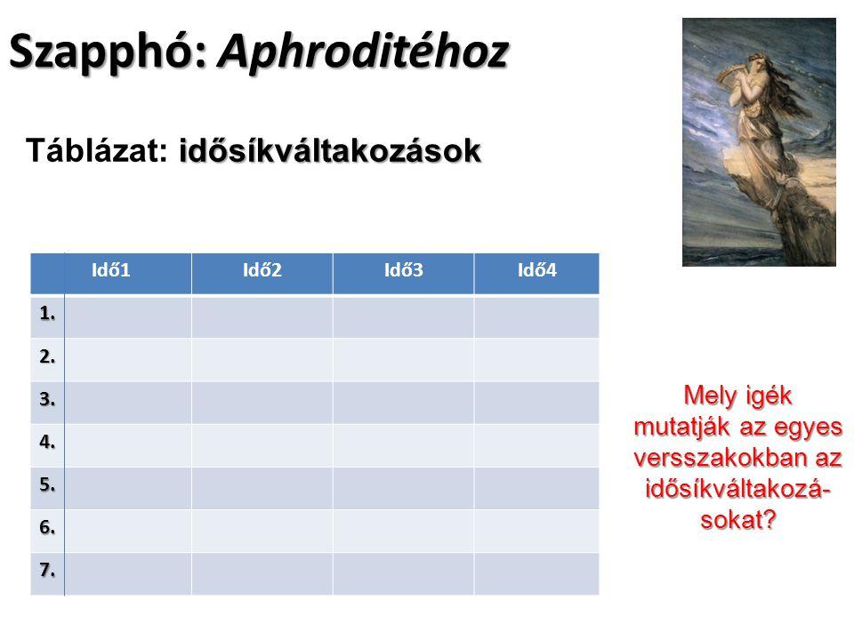 Szapphó: Aphroditéhoz Idő1Idő2Idő3Idő41.2. 3. 4. 5.