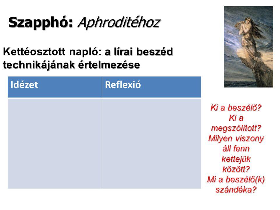 Szapphó: Aphroditéhoz a lírai beszéd technikájának értelmezése Kettéosztott napló: a lírai beszéd technikájának értelmezése IdézetReflexió Ki a beszélő.