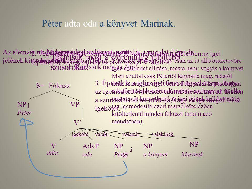 Az elemzés menete Péter odaadta a könyvet Marinak. Elemzési lépések: 1. Először mindig keressük meg az igét! 2. Vegyük fel az ige vonzatait az X'-elmé