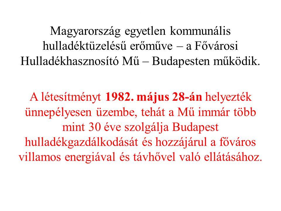 . Magyarország egyetlen kommunális hulladéktüzelésű erőműve – a Fővárosi Hulladékhasznosító Mű – Budapesten működik. A létesítményt 1982. május 28-án