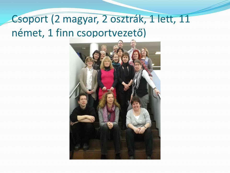 Csoport (2 magyar, 2 osztrák, 1 lett, 11 német, 1 finn csoportvezető)