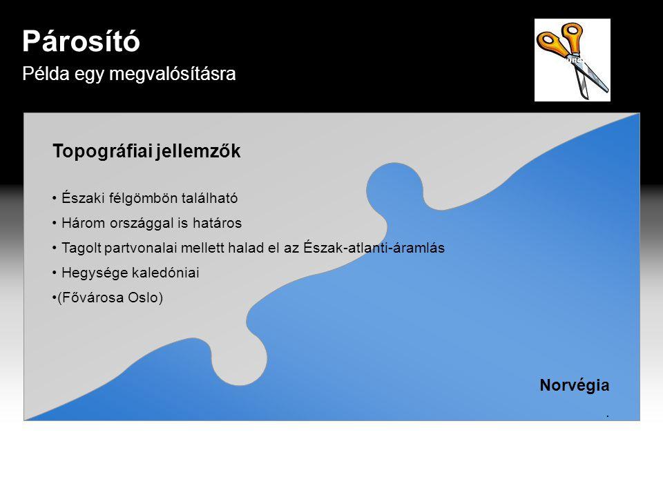 Topográfiai jellemzők • Északi félgömbön található • Három országgal is határos • Tagolt partvonalai mellett halad el az Észak-atlanti-áramlás • Hegysége kaledóniai •(Fővárosa Oslo) Norvégia.
