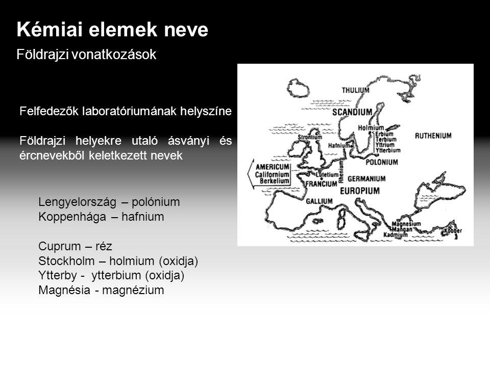 Kémiai elemek neve Földrajzi vonatkozások Felfedezők laboratóriumának helyszíne Földrajzi helyekre utaló ásványi és ércnevekből keletkezett nevek Lengyelország – polónium Koppenhága – hafnium Cuprum – réz Stockholm – holmium (oxidja) Ytterby - ytterbium (oxidja) Magnésia - magnézium