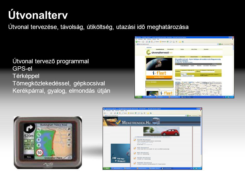 Útvonalterv Útvonal tervezése, távolság, útiköltség, utazási idő meghatározása Útvonal tervező programmal GPS-el Térképpel Tömegközlekedéssel, gépkocsival Kerékpárral, gyalog, elmondás útján
