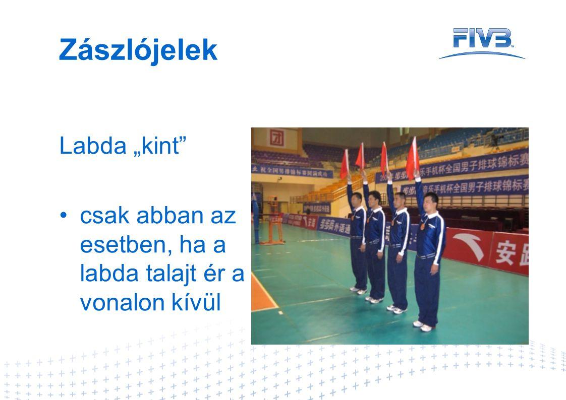 """Zászlójelek Labda """"kint"""" •csak abban az esetben, ha a labda talajt ér a vonalon kívül"""