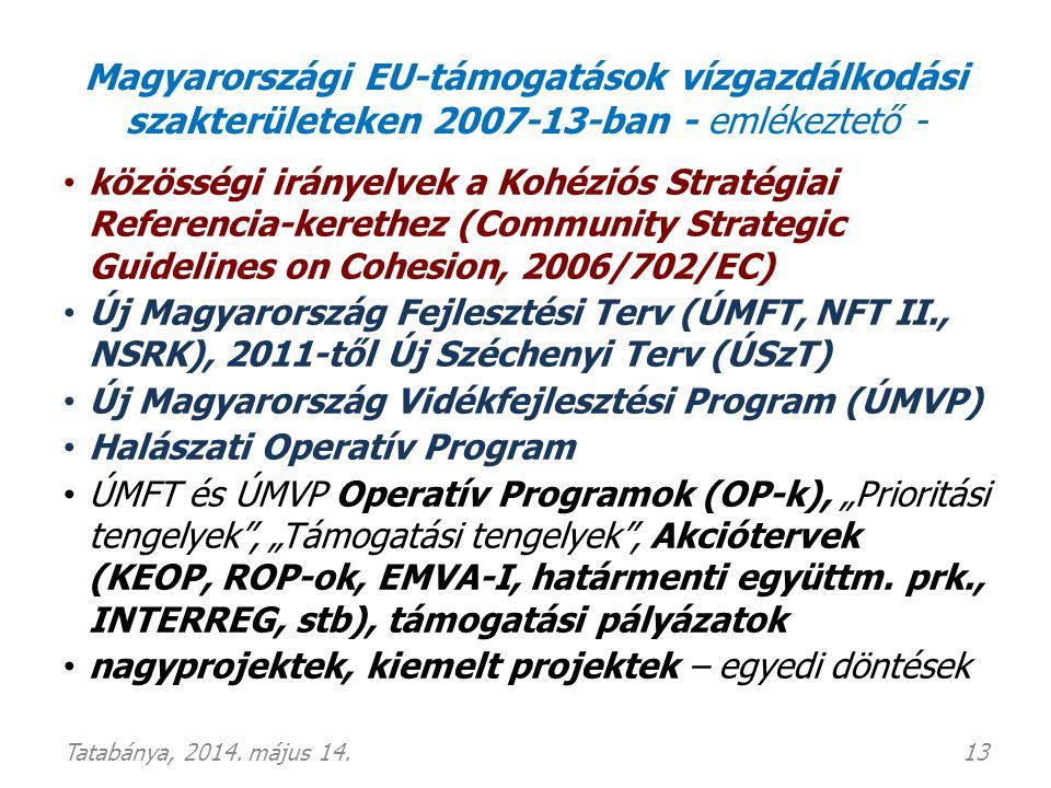 Magyarországi EU-támogatások vízgazdálkodási szakterületeken 2007-13-ban - emlékeztető - • közösségi irányelvek a Kohéziós Stratégiai Referencia-keret