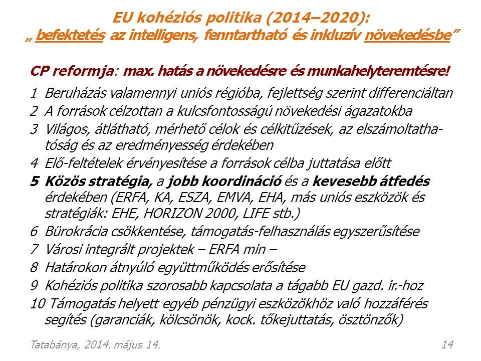 """EU kohéziós politika (2014–2020): """" befektetés az intelligens, fenntartható és inkluzív növekedésbe"""" CP reformja: max. hatás a növekedésre és munkahel"""