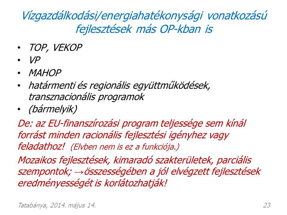 Vízgazdálkodási/energiahatékonysági vonatkozású fejlesztések más OP-kban is • TOP, VEKOP • VP • MAHOP • határmenti és regionális együttműködések, tran