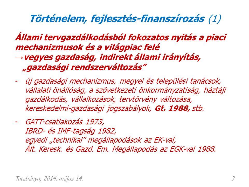 Történelem, fejlesztés-finanszírozás (2) 1990: politikai-közjogi rendszerváltás, EU-csatlakozási szándék • 1991 (1994) Társulási Megállapodás • 1993 Koppenhágai kritériumok (demokratikus jogállami intézményrendszer, működő és versenyképes piacgazdaság, közösségi joganyag adaptálása és alkalmazása) • 1994 Csatlakozási Kérelem benyújtása • jogharmonizációs tárgyalások • 2003 Csatlakozási Szerződés 2004.