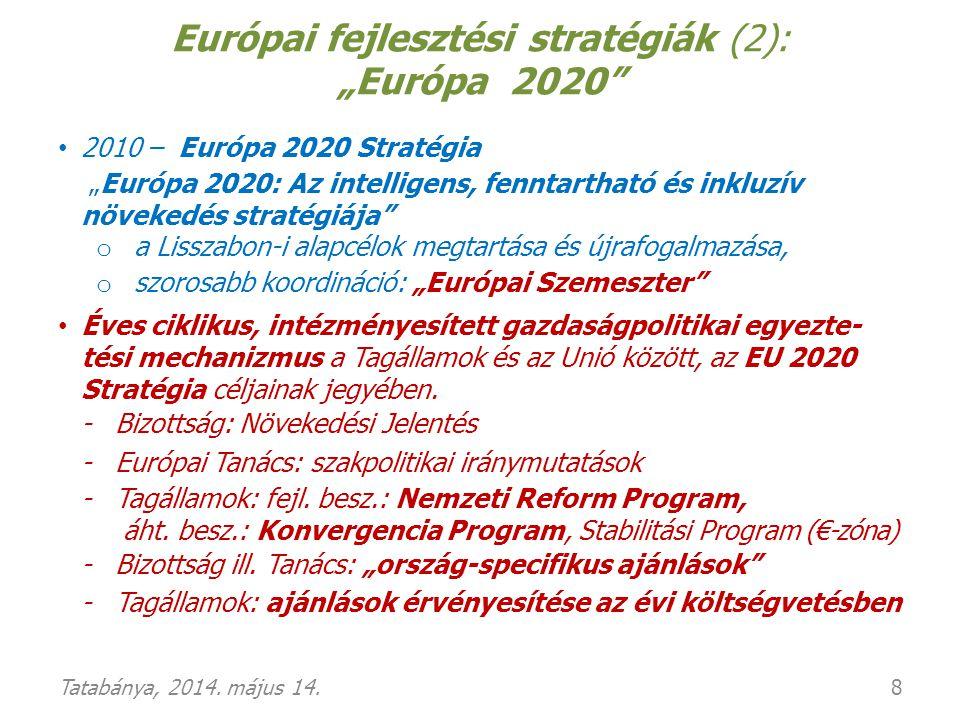 """EU fejlesztési stratégiák (3): """"Európa 2020 (folyt.) 5 kiemelt, """"mérhető cél az EU egészére vonatkozóan: 1."""