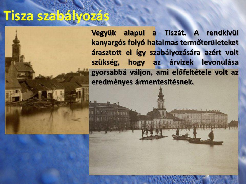 Tisza szabályozás Vegyük alapul a Tiszát. A rendkívül kanyargós folyó hatalmas termőterületeket árasztott el így szabályozására azért volt szükség, ho
