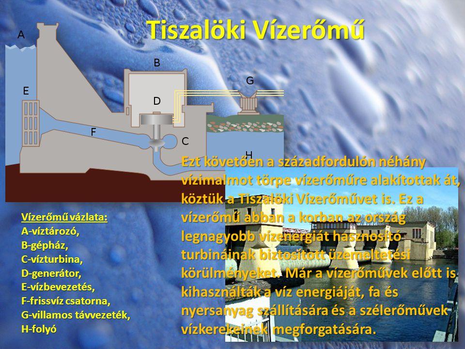 Tiszalöki Vízerőmű Vízerőmű vázlata: A-víztározó,B-gépház,C-vízturbina,D-generátor,E-vízbevezetés, F-frissvíz csatorna, G-villamos távvezeték, H-folyó