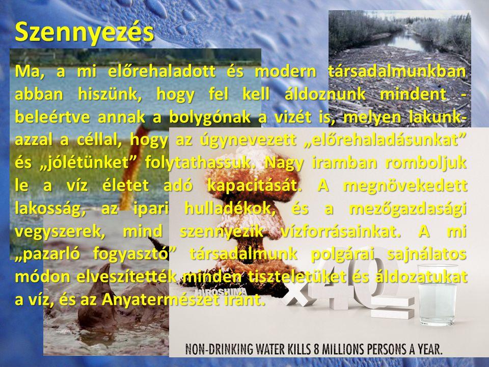 Szennyezés Ma, a mi előrehaladott és modern társadalmunkban abban hiszünk, hogy fel kell áldoznunk mindent - beleértve annak a bolygónak a vizét is, m