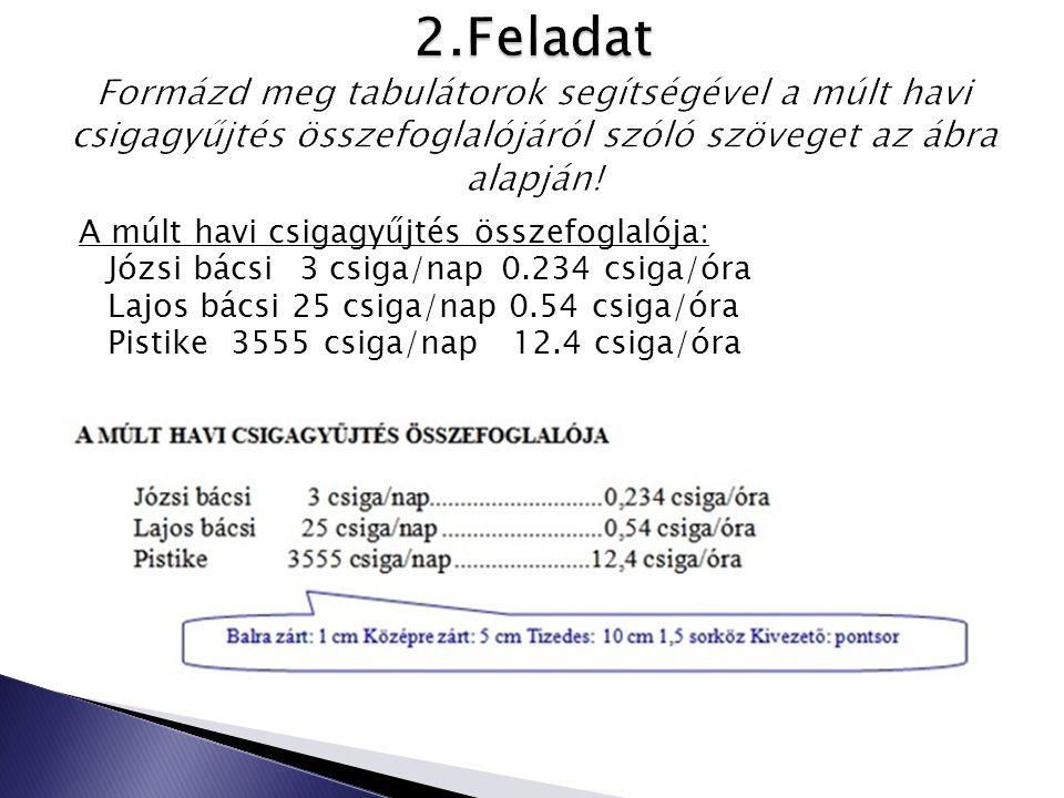 A múlt havi csigagyűjtés összefoglalója: Józsi bácsi 3 csiga/nap 0.234 csiga/óra Lajos bácsi 25 csiga/nap 0.54 csiga/óra Pistike 3555 csiga/nap 12.4 c
