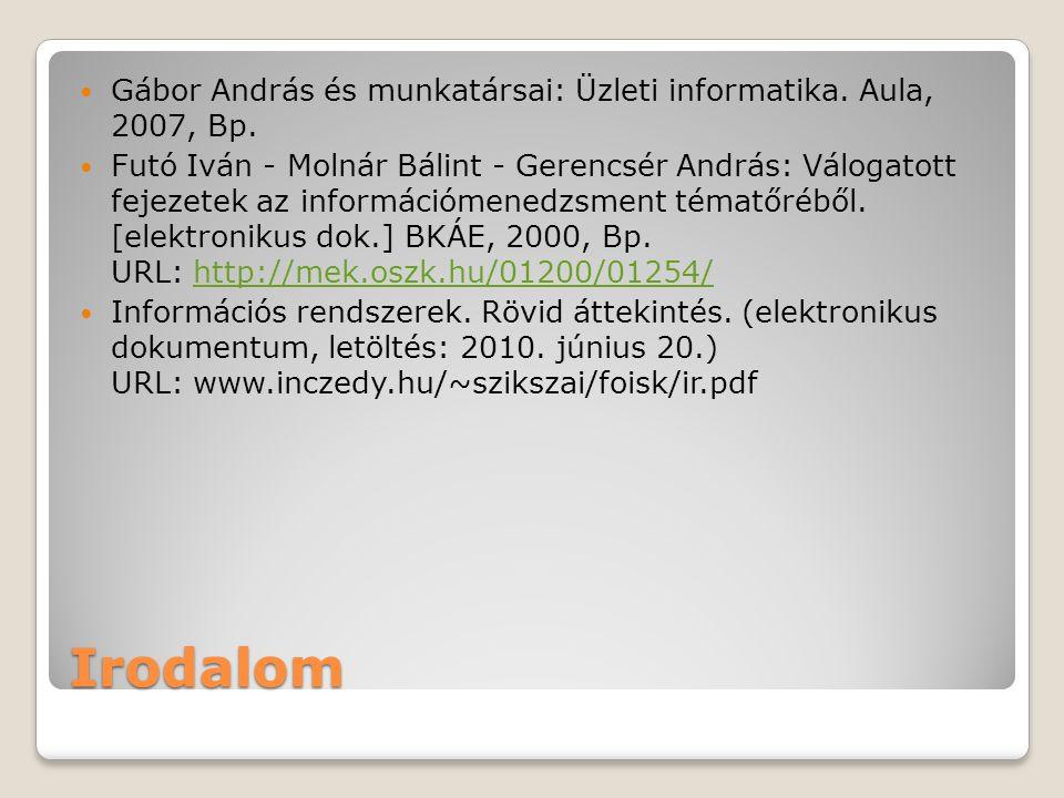 Irodalom  Gábor András és munkatársai: Üzleti informatika. Aula, 2007, Bp.  Futó Iván - Molnár Bálint - Gerencsér András: Válogatott fejezetek az in