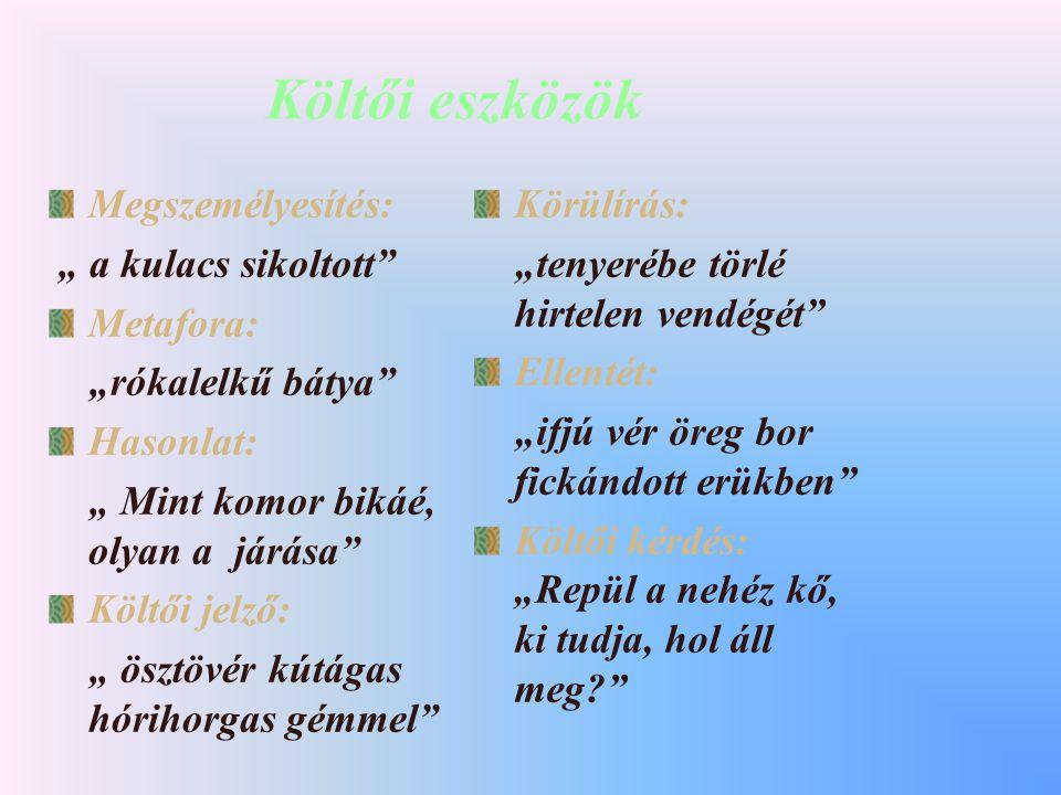 A mű formai sajátosságai Műfaja: elbeszélő költemény (12 ének ) Verselése: hangsúlyos, négyütemű tizenkettes Rím: páros, a a b b Nyelvezete: népies Kö